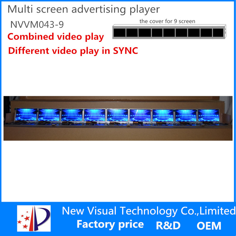 multi screen advertising display-4.3inch*9screen