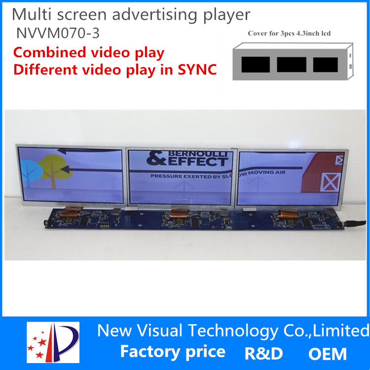 Multi screen advertising player-7inch*3pcs